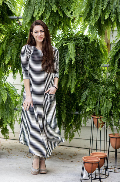 Jessi Dress Black, White & Gold Stripe Ribbed