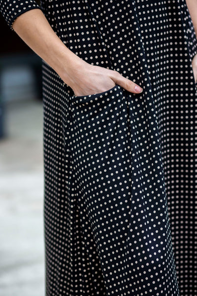 Jessi Dress Black & Tan Dot