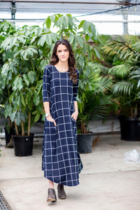 Jessi Dress Navy & White Grid
