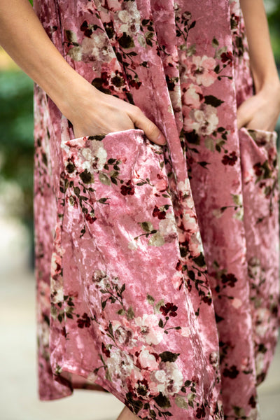 April Dress Blush Velvet Foral