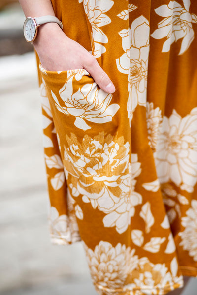 April Dress Mustard Cream Floral