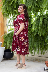 April Dress Scarlet Velvet Floral