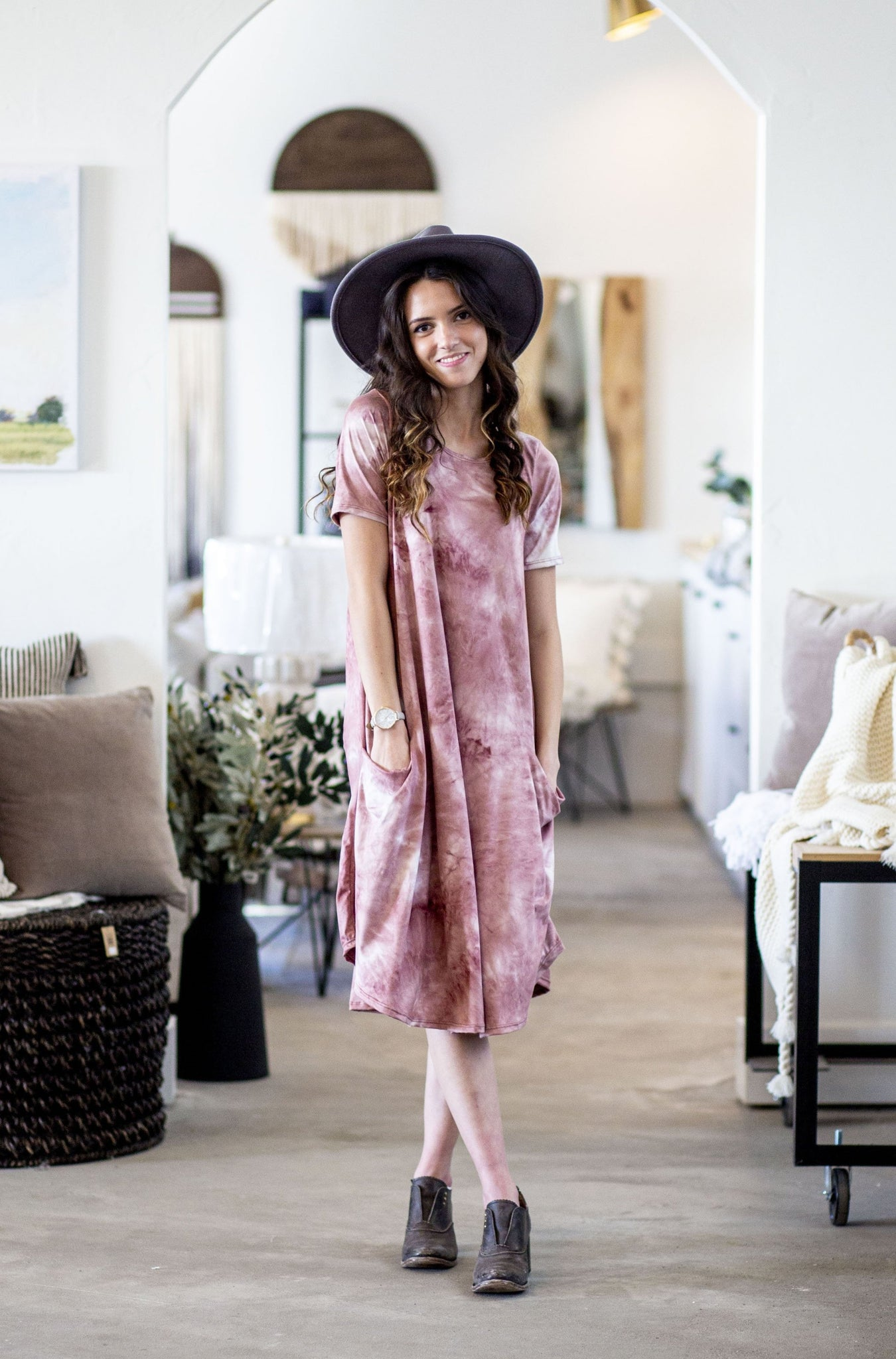 April Dress Blush Tie Dye