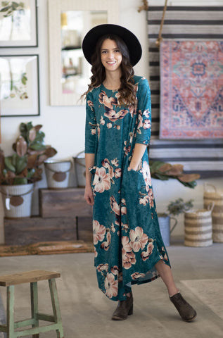 Jessi Dress Turquoise Velvet Floral