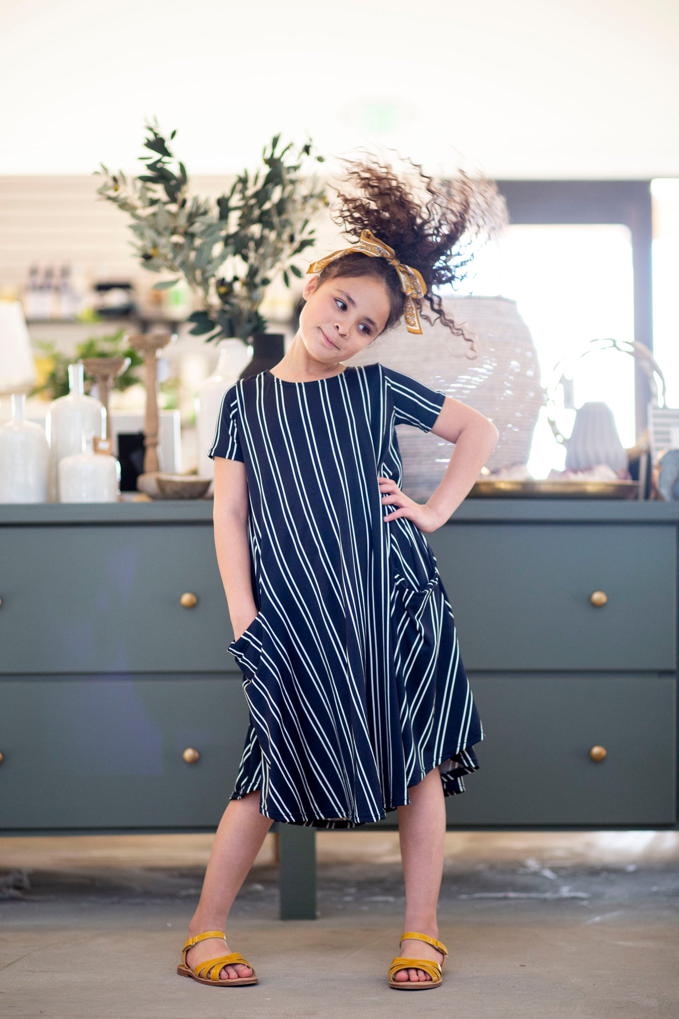 Mini April Navy Vertical Stripe