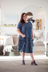 April Dress Navy Vertical Stripe