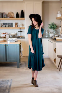 April Dress Emerald Ribbed