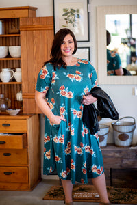 April Dress Teal Floral