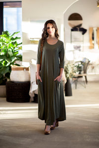 Jessi Dress Olive Stripe Ribbed