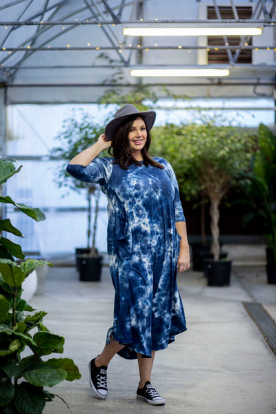 Jessi Dress Navy Tie Dye