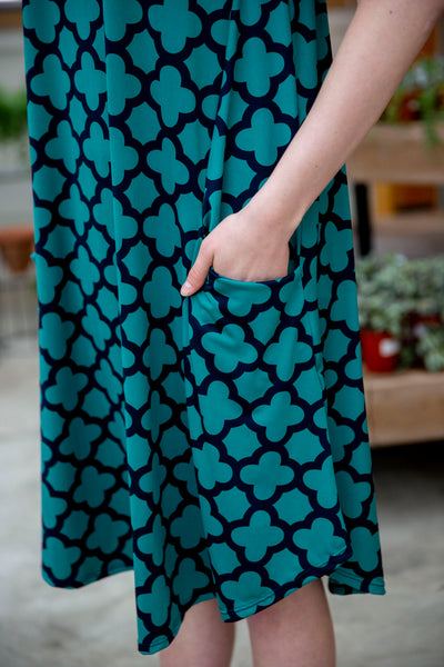 April Dress Teal & Navy Quatrefoil