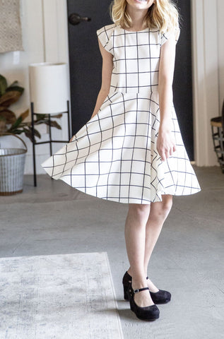 Women's Reese Twirl Cream & Black Grid