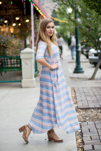 Blue & Peach Stripe Jessi Dress
