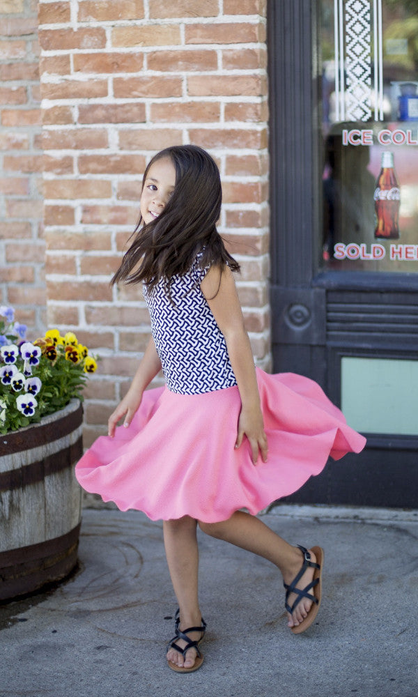 Coral Geo Girl Twirl Dress