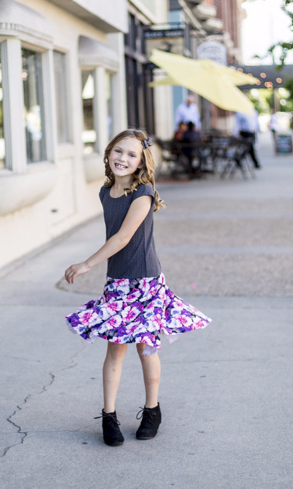 Gray Floral Girl Twirl Dress