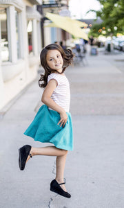 Tan & Teal Stripe Girl Twirl Dress