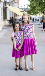 Twirl Dress Fuchsia Aztec