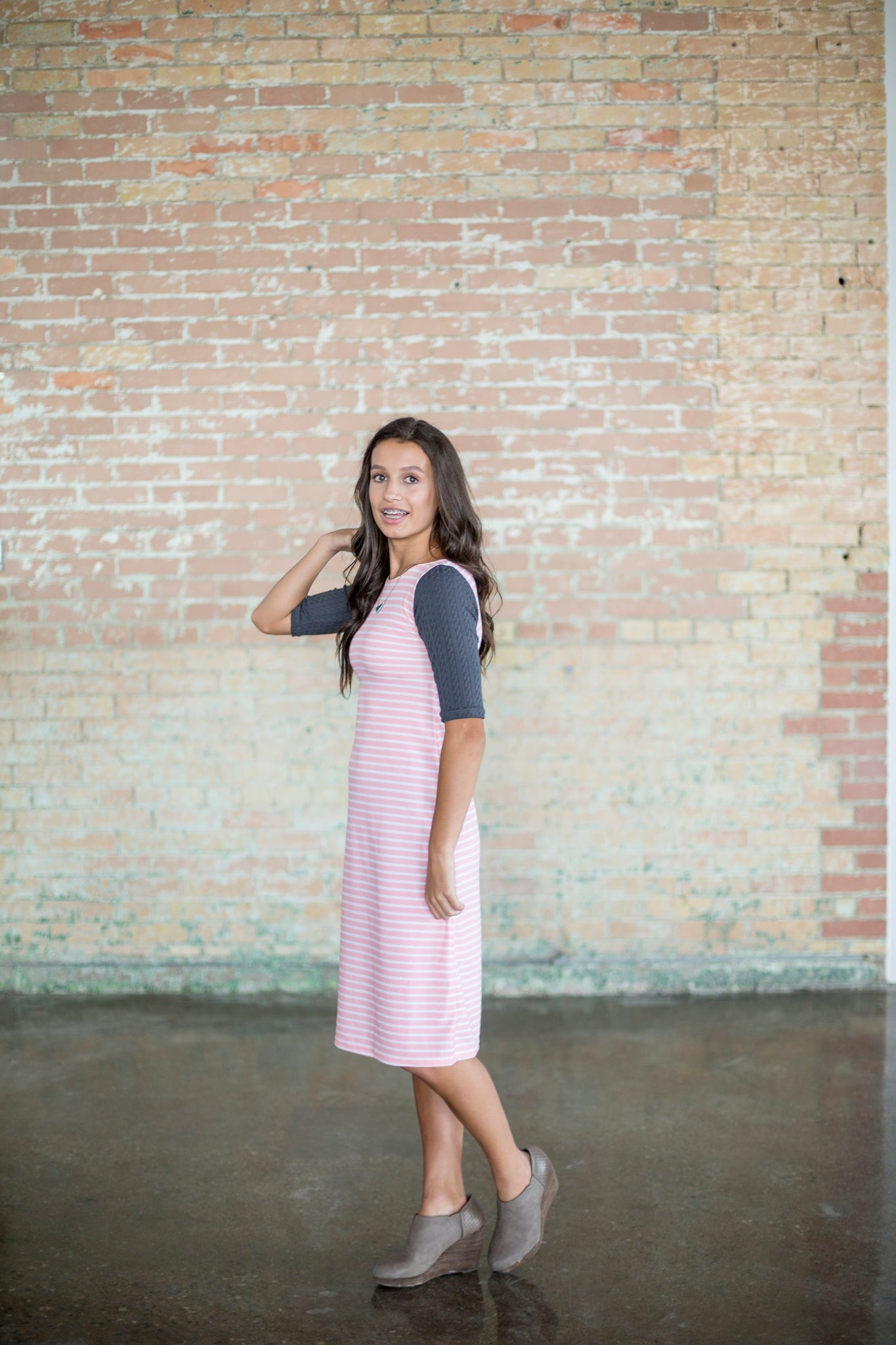 Pink & Gray Emaley Dress
