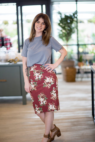 Pencil Skirt Maroon Floral