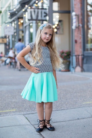Mint Geo Girl Twirl Dress