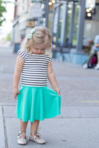 Mint with Black & White Stripe Girl Twirl Dress