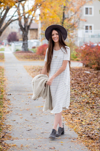 Light Gray Stripe April Dress