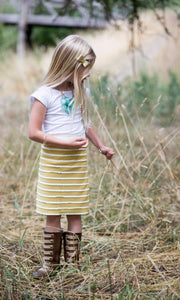 Mustard & Cream Scalloped Ruffle Baby A-Line Skirt