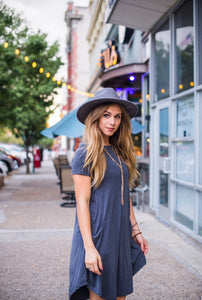 Gray Distressed Ribbed April Dress