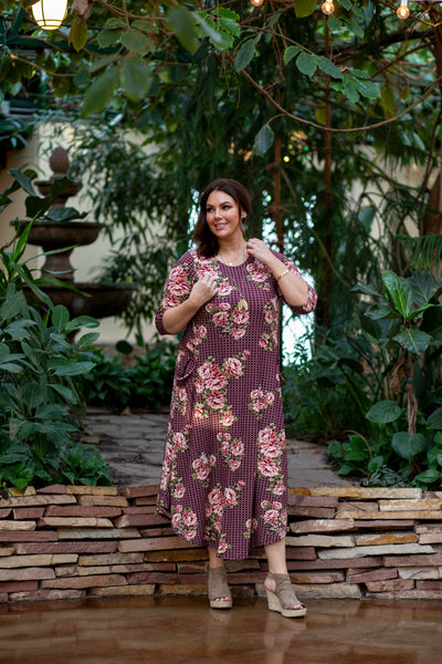 Jessi Dress Maroon Floral & Circles