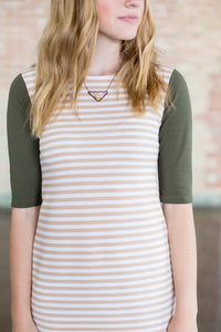 Tan Stripe & Olive Emaley Dress