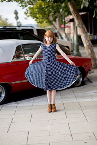 Reese Dress Navy Dot Girl