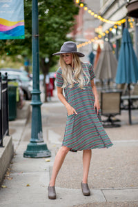 Black & Pastel Stripe April Dress