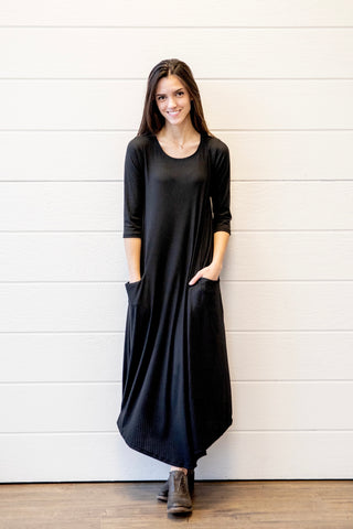 Jessi Dress Black Ribbed