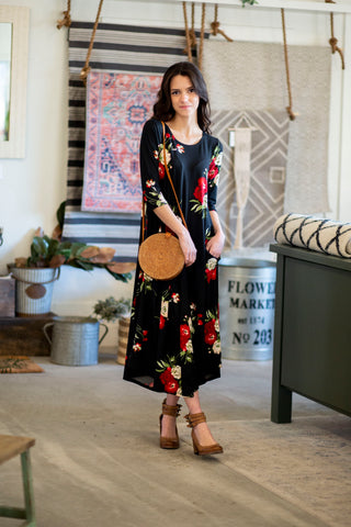 Jessi Dress Black and Red Floral