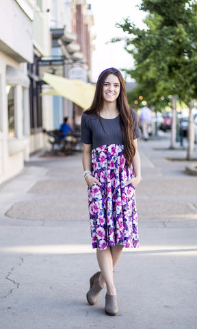 Floral Gray Lenny Dress