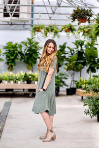 Distressed Olive April Dress