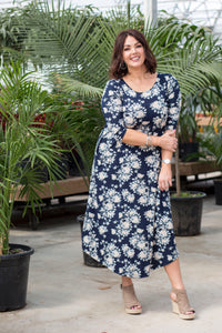 Navy & Cream Floral Jessi Dress
