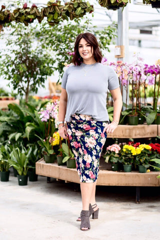 Pencil Skirt Navy Floral