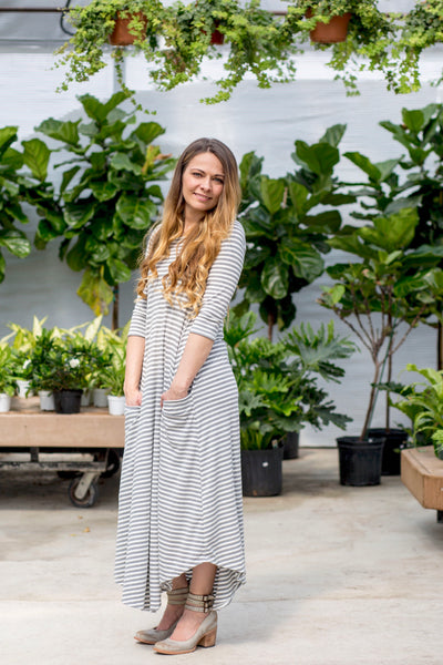 Jessi Dress Gray & White Stripe Ribbed