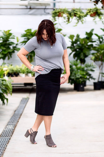 Pencil Skirt Black Striped Embossed
