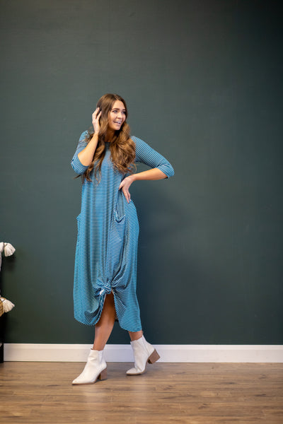 Jessi Dress Teal Stripe