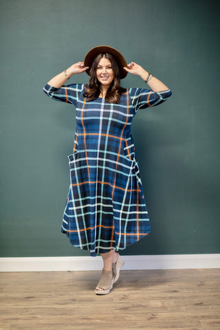 Jessi Dress Navy Plaid