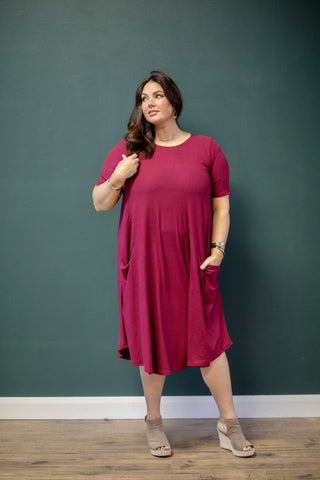 April Dress Wine Ribbed