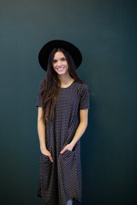 April Dress Black & Tan Dot