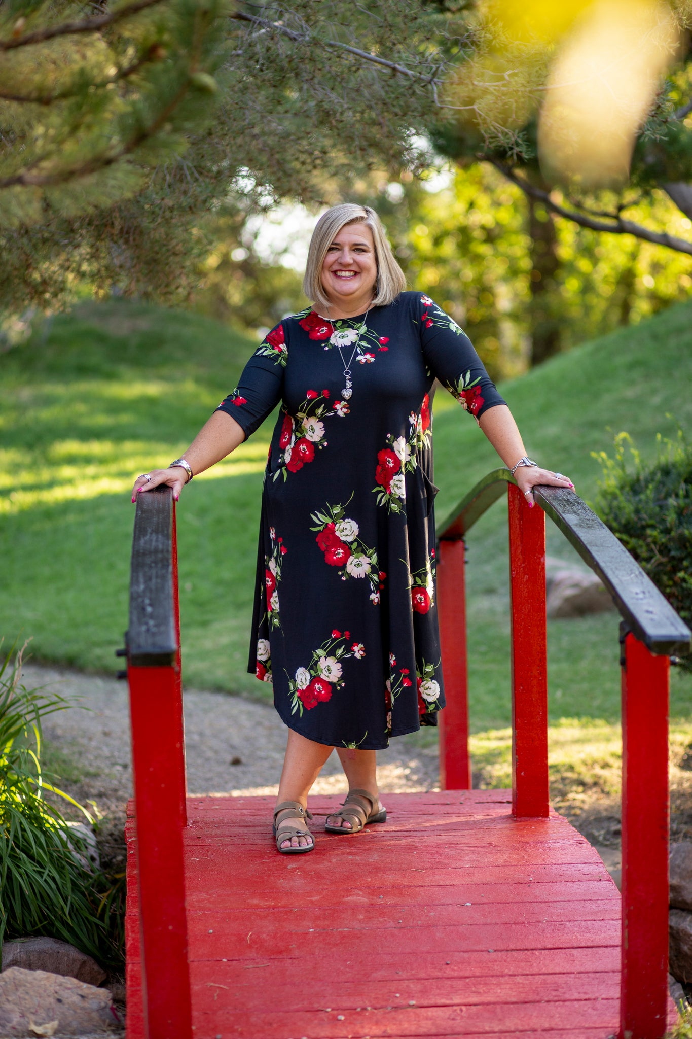 Black and Red Floral Jessi Dress