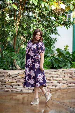 April Dress Purple Floral