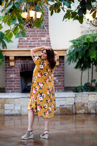 April Dress Mustard Floral Dot