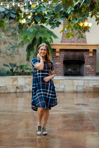 April Dress Navy Plaid