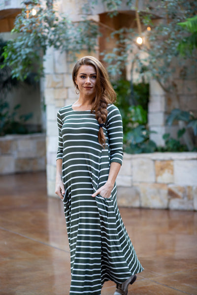 Jessi Dress Olive & White Stripe Ribbed