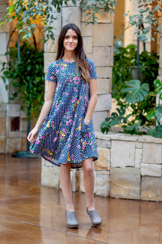 April Dress navy Buffalo Floral